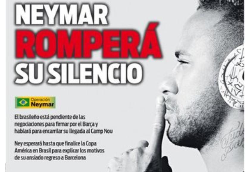 每体封面:内马尔将在巴西踢完美洲杯后宣布回归巴萨