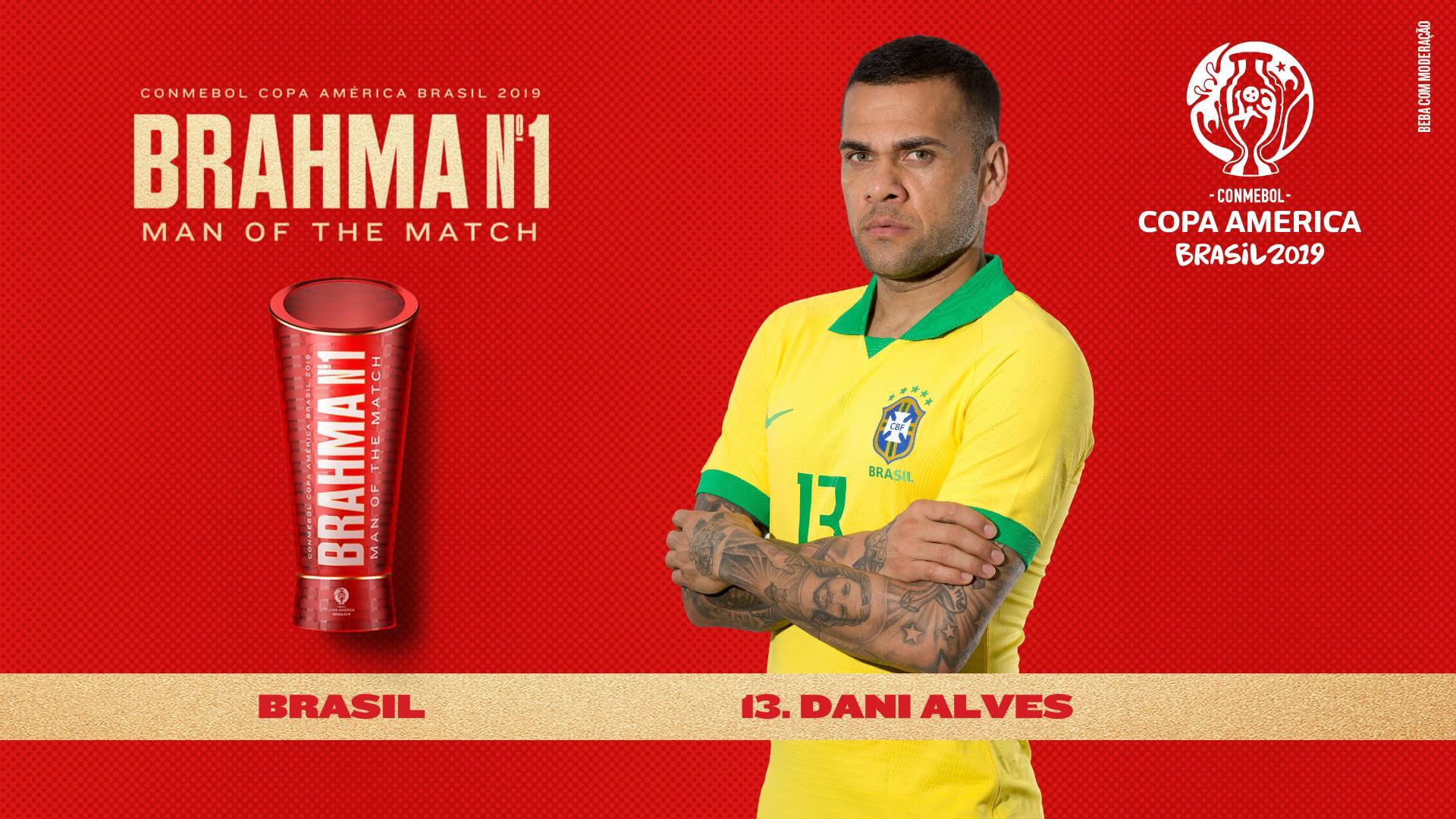 官方:阿尔维斯当选巴西战阿根廷全场最佳球员