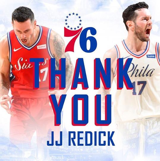 76人官方更新社交媒体,感谢JJ-雷迪克