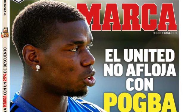 马卡报封面:皇马认为博格巴加盟的可能性已经很小