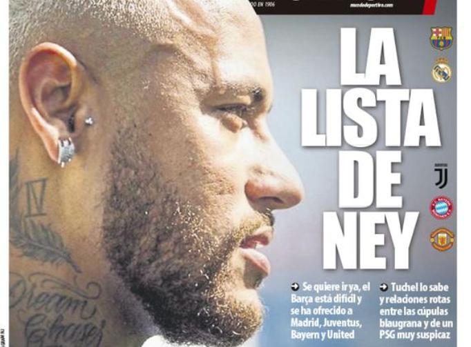 世体封面:回归巴萨难,内马尔被推荐给皇马尤文拜仁曼联