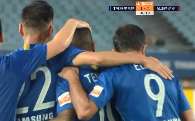 GIF:王鹏手球送点特谢拉命中,苏宁1-0深圳