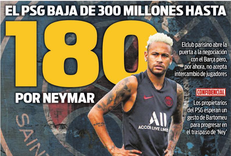每体封面:巴黎想和巴萨谈内马尔转会,标价1.8亿