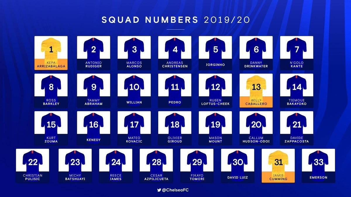 切尔西公布新赛季球衣号码:威廉10号,亚伯拉罕9号