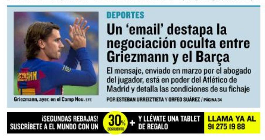 世界报:马竞截获格列兹曼状师3月与巴萨构和的邮件