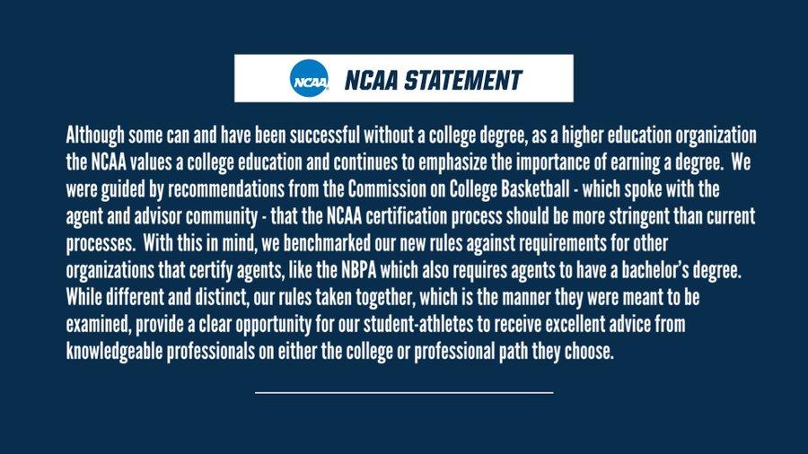 NCAA就经纪人新规发表声明:会继续强调学位的重要性