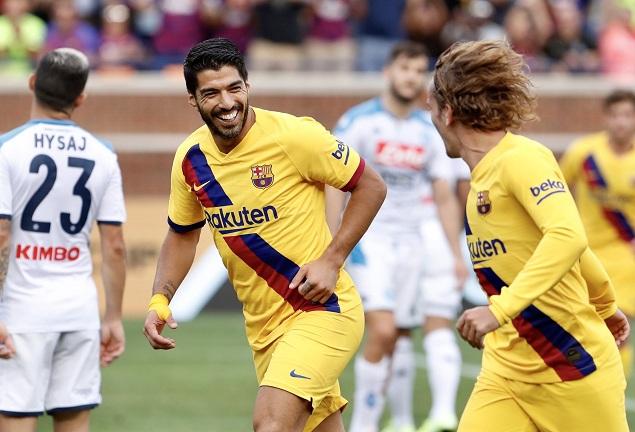 友谊赛:苏亚雷斯双响格列兹曼处子球,巴萨4-0那不勒斯