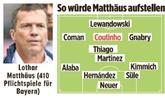 马特乌斯心中的拜仁首发:库蒂尼奥取代穆勒首发位置