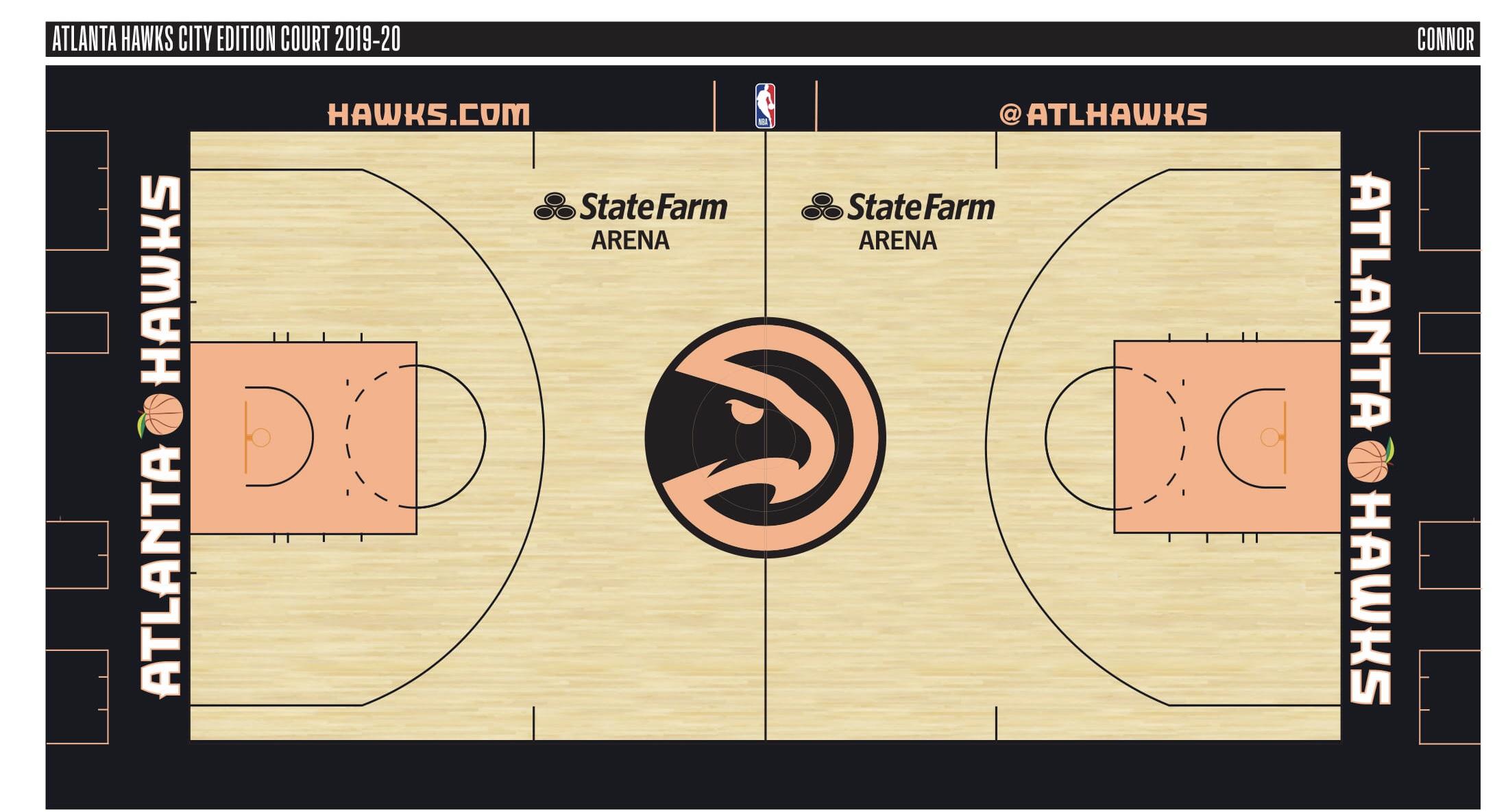简约时兴!老鹰新赛季主场地板两款设计图出炉
