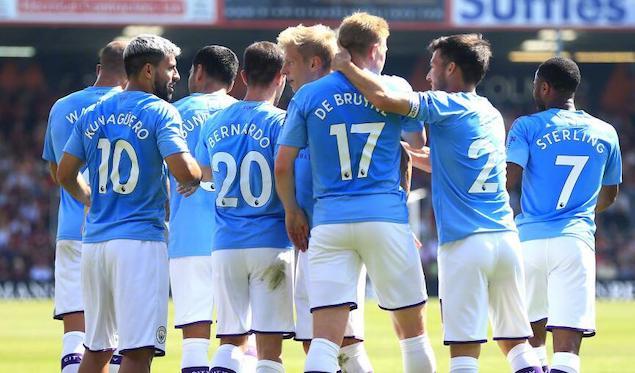阿圭罗双响裁判判罚惹争议,曼城3-1客胜伯恩茅斯