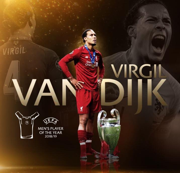 官方:范戴克当选上赛季欧足联最佳球员