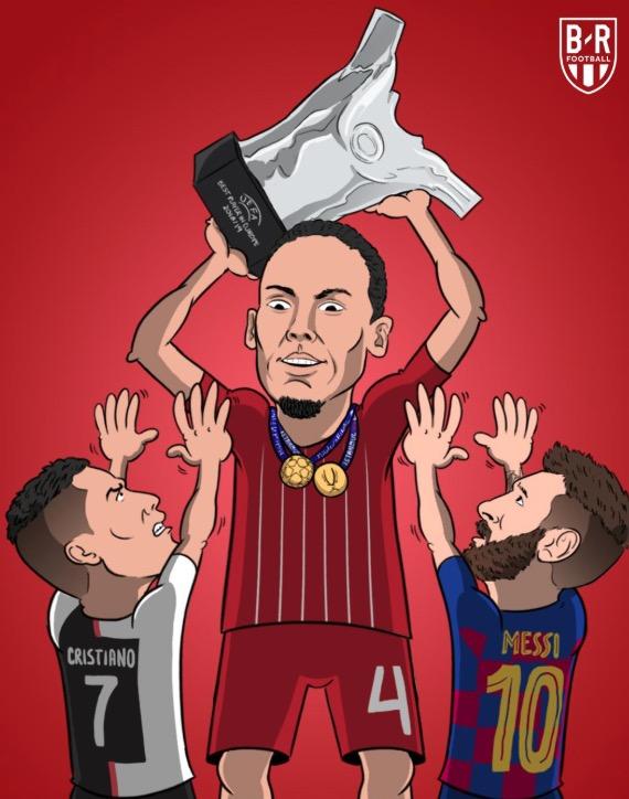 B/R海报:范戴克高举奖杯,C罗梅西够不着