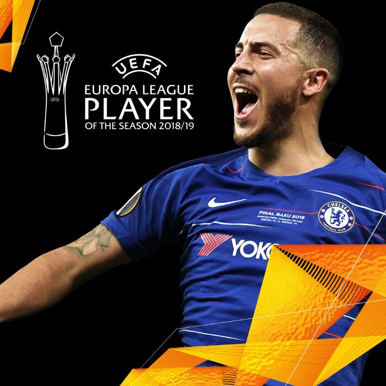 官方:阿扎尔当选上赛季欧联最佳球员