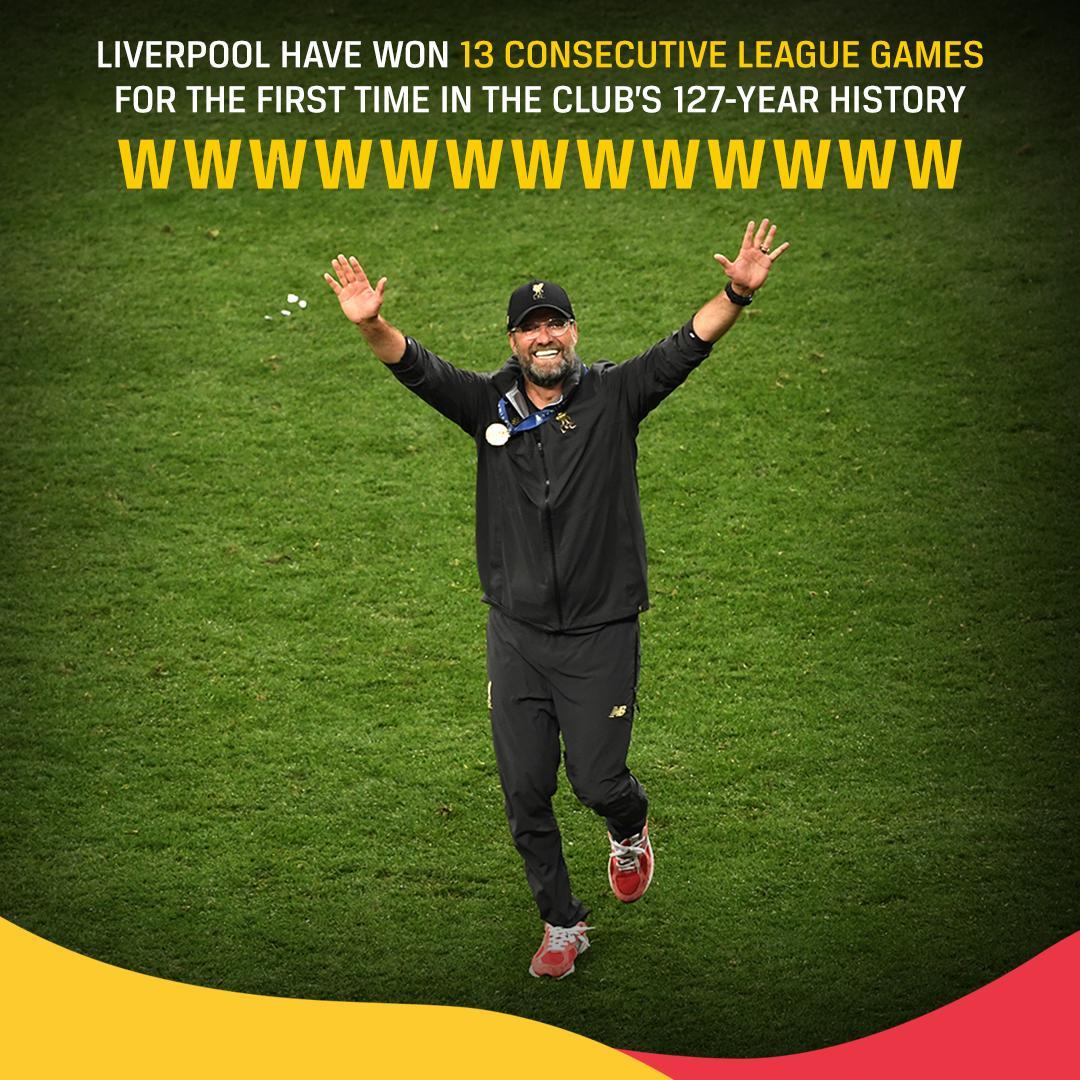 127年队史首次!利物浦取得联赛13连胜