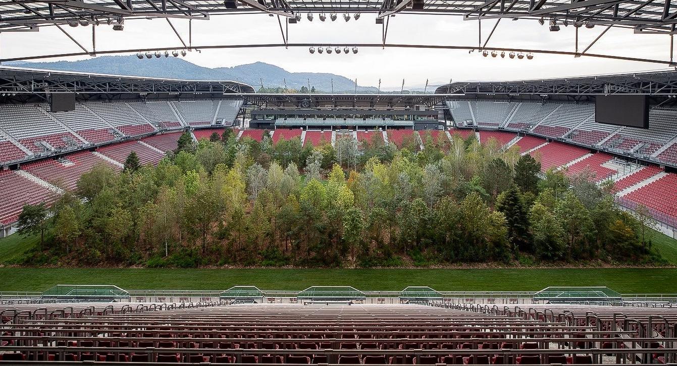 美丽的运动!艺术家将森林搬入奥地利足球场