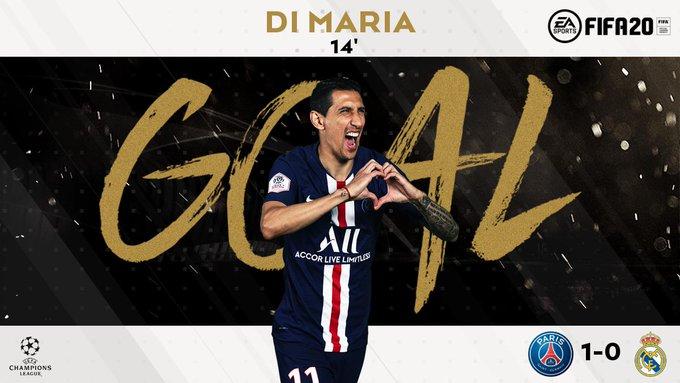 GIF:迪马利亚幼角度攻古旧主大门,巴黎1-0皇马