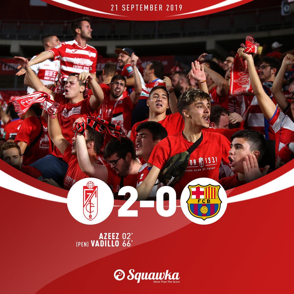 格拉纳达2-0巴萨,暂时登顶西甲联赛第一!