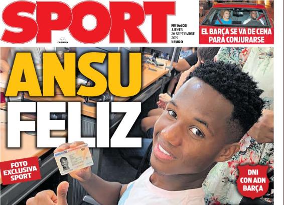 每日体育报封面:法蒂拿到西班牙身份证了