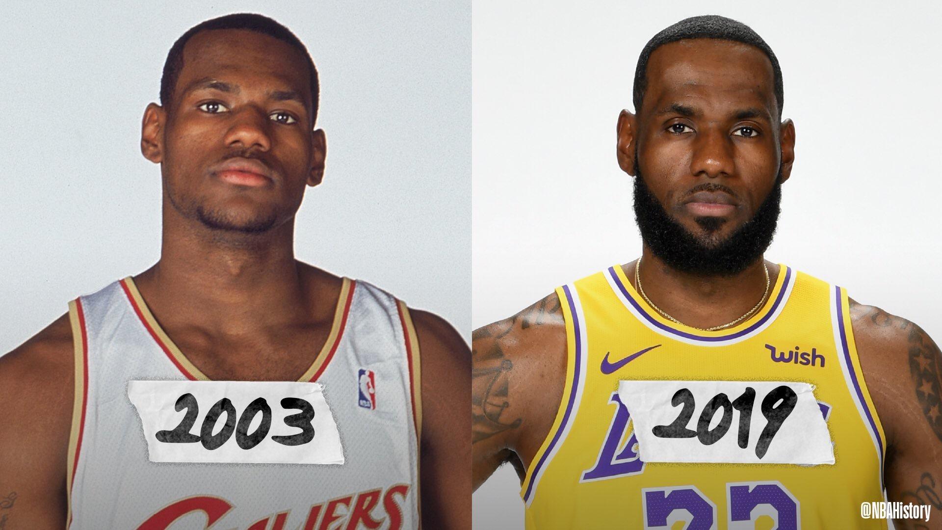 NBA官方发图对比詹姆斯定妆照:从第1年到第17年