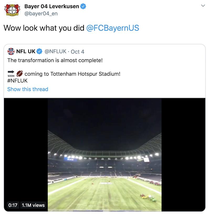 热刺球场改踢NFL遭药厂讥讽:拜仁,你对他们做了甚么