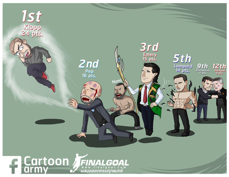 漫画调侃Big6主帅:渣叔一飞冲天,波帅索肖报团取暖和