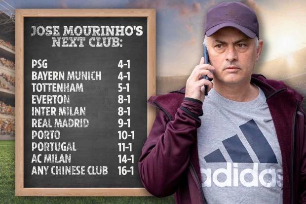 穆里尼奥潜在下家赔率top10:巴黎、拜仁领跑