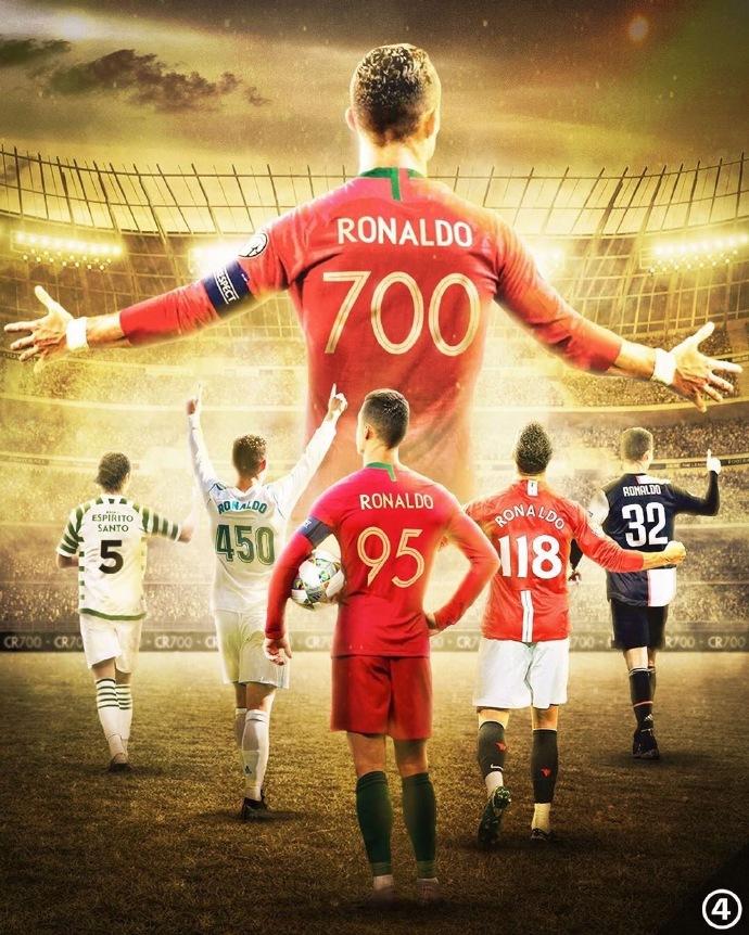 有牌面!欧足联国际足联欧洲杯欧冠民间祝贺C罗700球