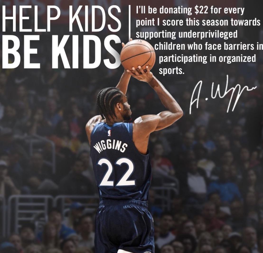 威金斯公布新赛季捐钱企图:每得一分捐22美圆