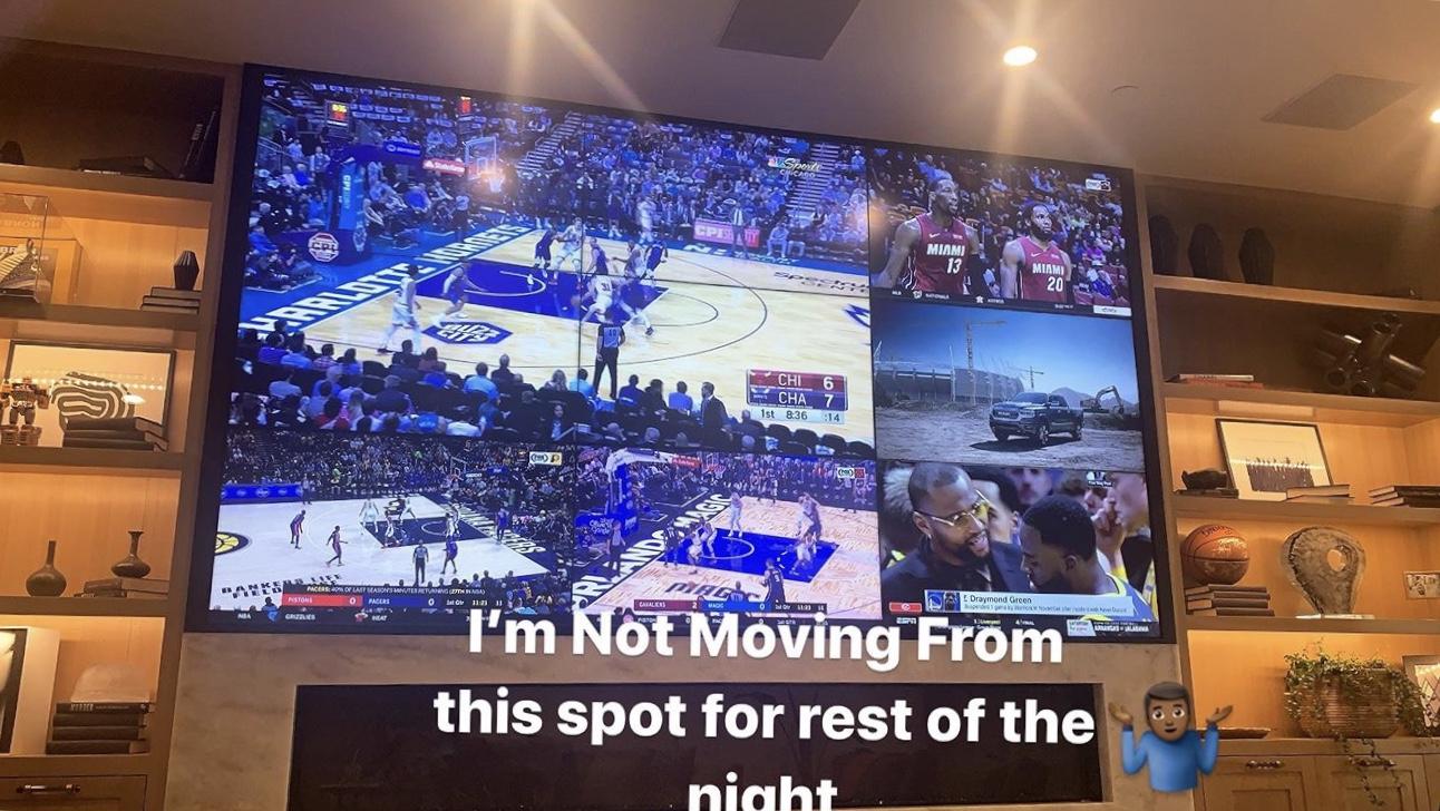 篮球盛宴!詹姆斯发布分屏电视图片期待观战今日比赛