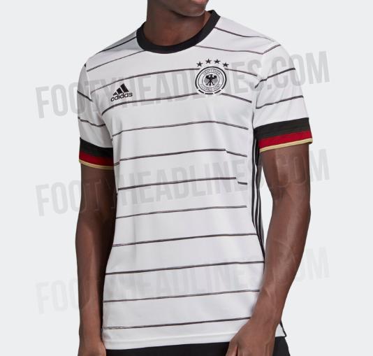 德国队欧洲杯主场球衣谍照曝光,采取横条设计