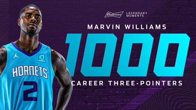 恭喜!马文-威廉姆斯常规赛生涯三分命中数达1000