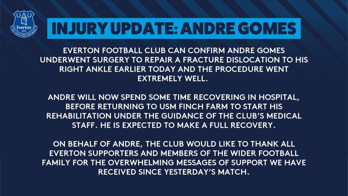 埃弗顿官方:戈麦斯的手术非常成功,预计能完全恢复