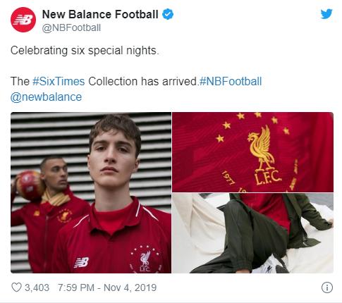 庆祝利物浦第六次夺得欧冠,新百伦将发布纪念球衣