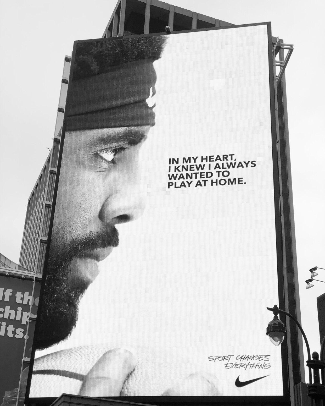 欧文的巨幅海报被置于尼克斯主场麦迪逊花园
