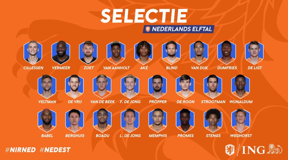 荷兰国家队大名单公布:范戴克领衔,狼堡韦霍斯特入选