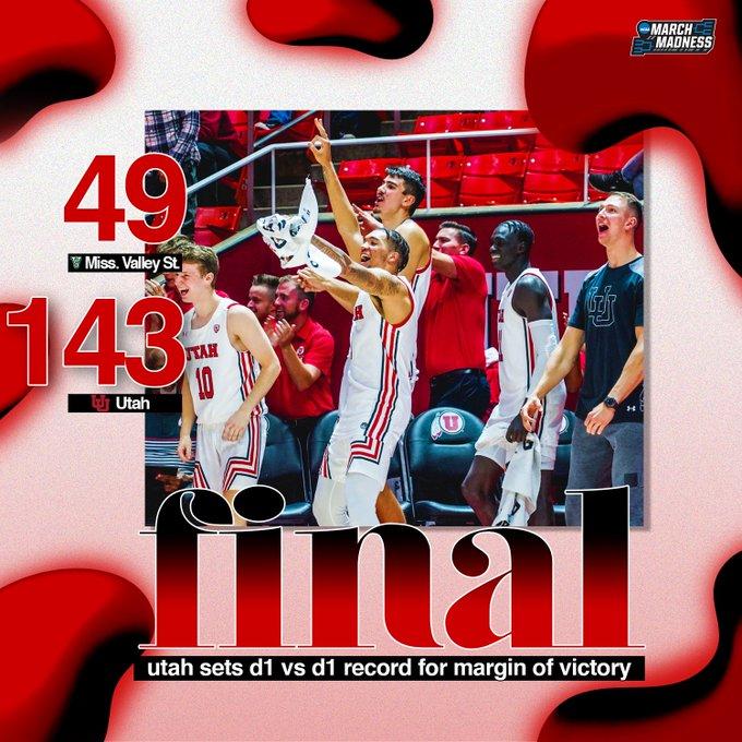 犹他大学94分狂胜密西西比河谷州立创NCAA历史最大分差
