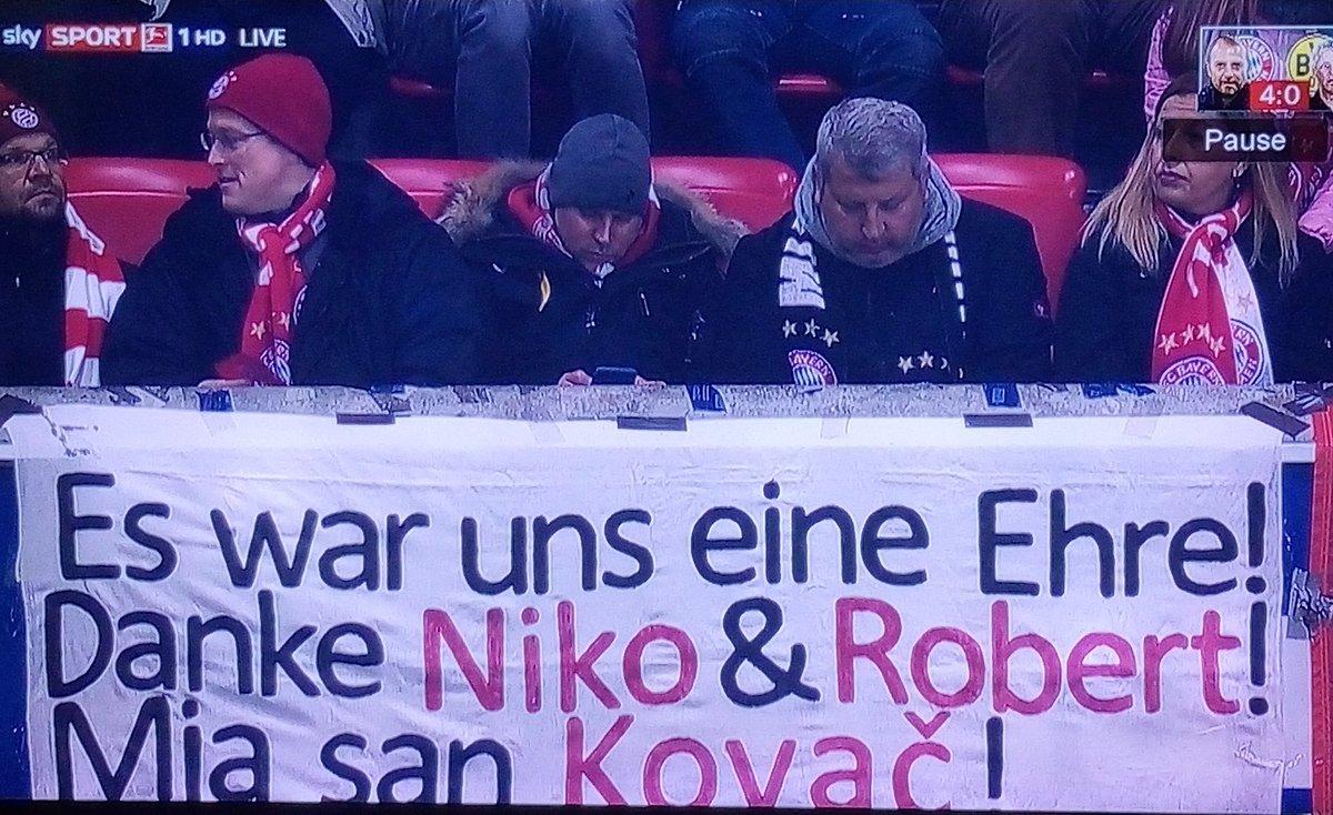 拜仁球迷打出横幅:感谢科瓦奇兄弟,Mia San Kovac