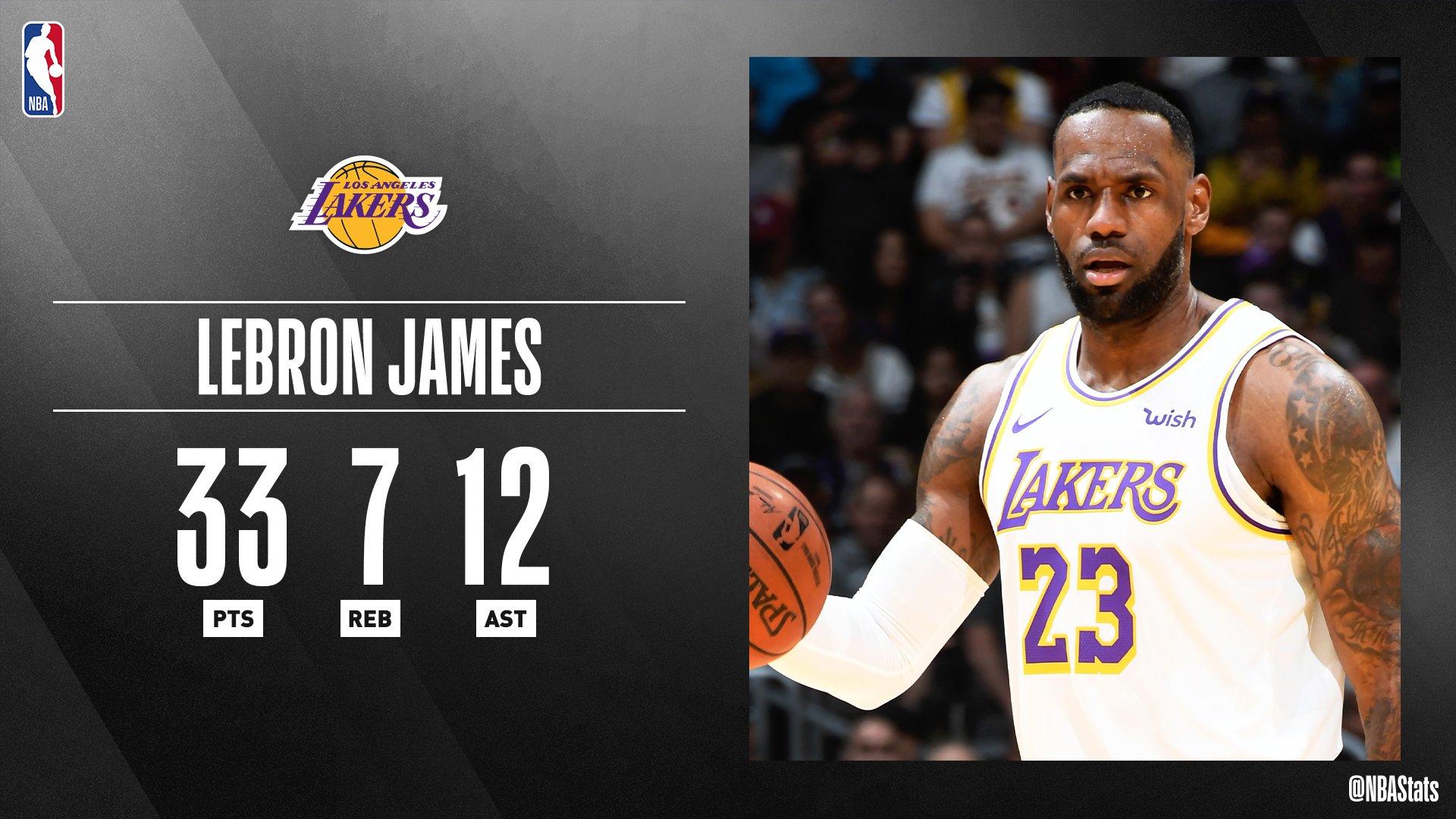 NBA官方评选今日最佳数据:詹姆斯33分7板12助攻当选