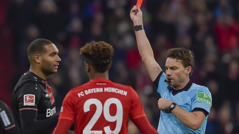 勒沃库森中卫塔因踢拜仁领到红牌,被追加禁赛两场