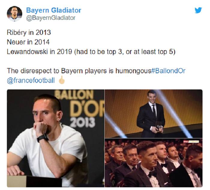 莱万金球奖只排在第8,球迷不满:拜仁球员不被重视