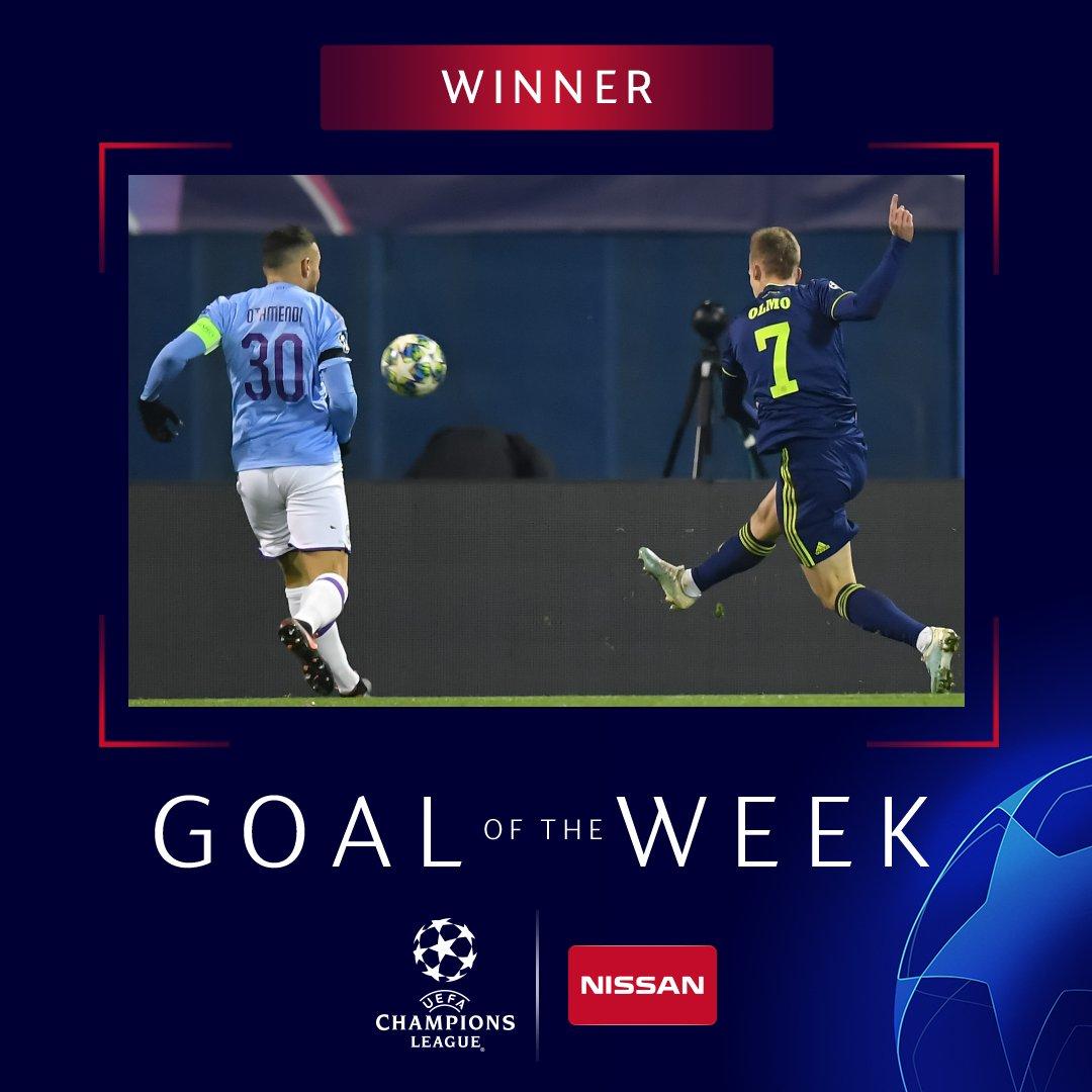 官方:奥尔莫凌空抽射当选欧冠小组赛末轮最佳进球