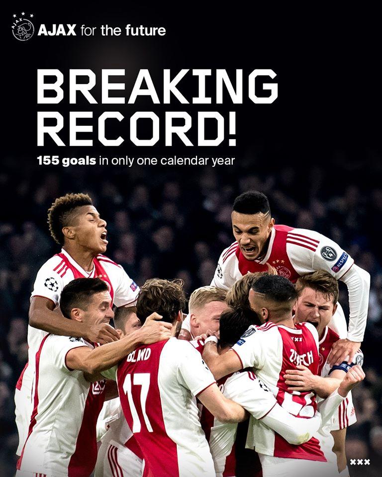 155球!阿贾克斯创荷甲球队年度最多进球新纪录