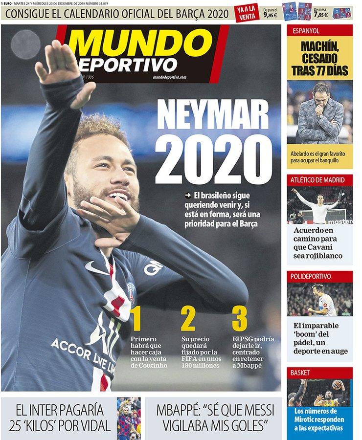世体头版:'内马尔2020',估量回归必要1.8亿欧转会费