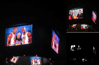 斯台普斯中心球馆大屏幕播放致敬视频悼念大卫-斯特恩