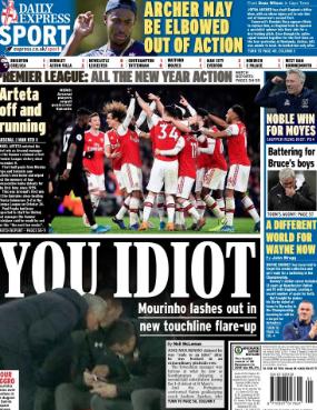 穆里尼奥称对手教练傻瓜,和阿森纳vs曼联抢英媒封面