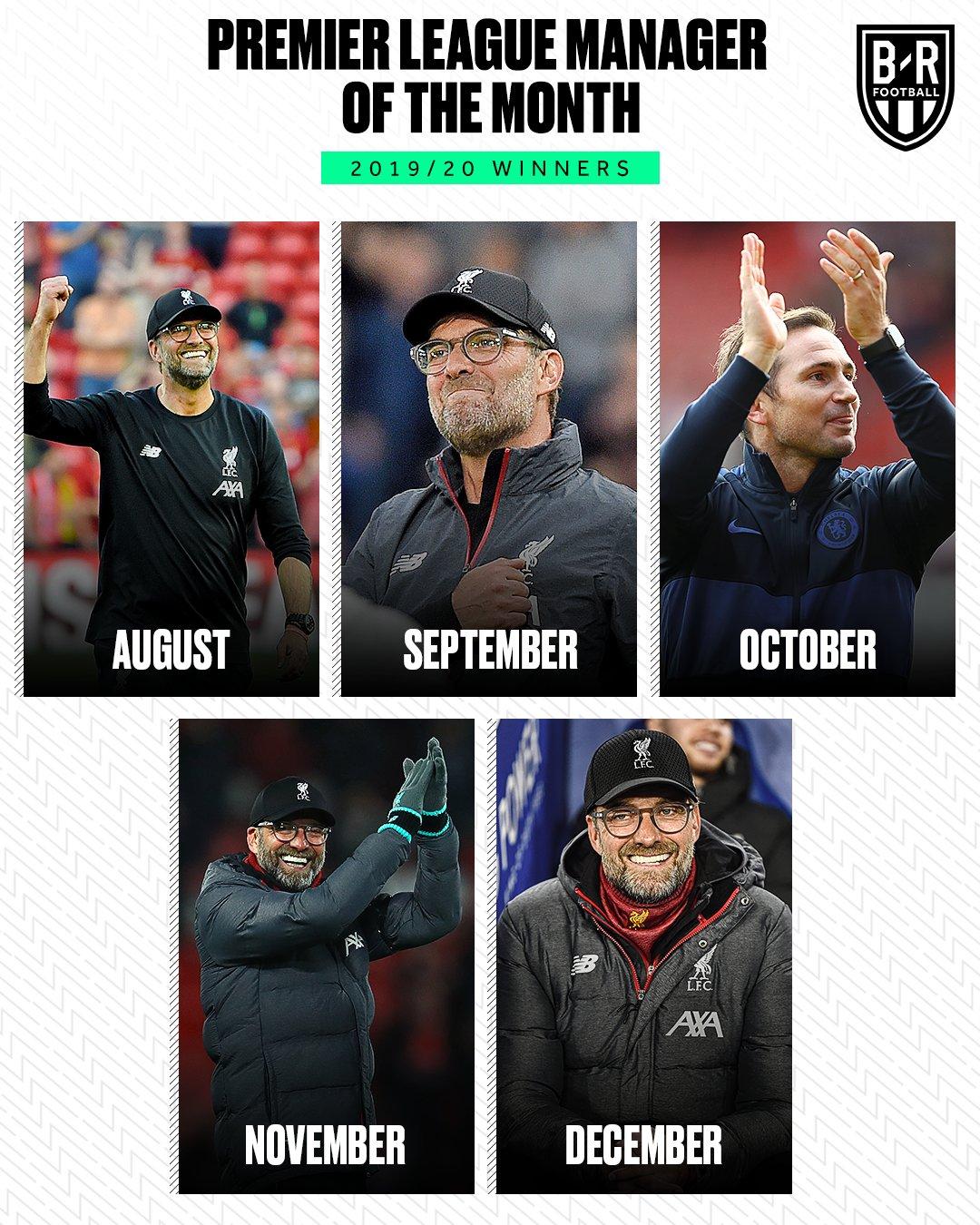 克洛普还能再进一步?历史上没人单季拿到五次月最佳主帅