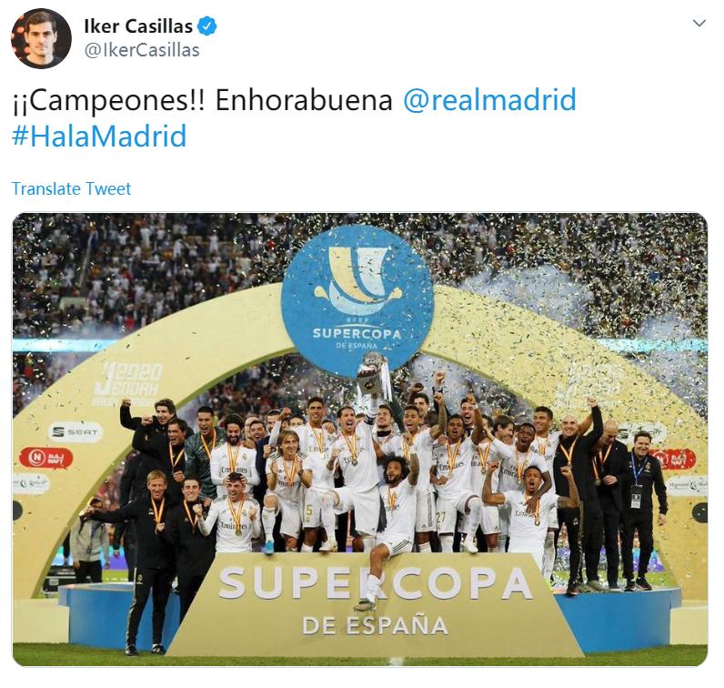 发贺电怎么少的了我?卡西利亚斯祝贺皇马夺得西超杯冠军