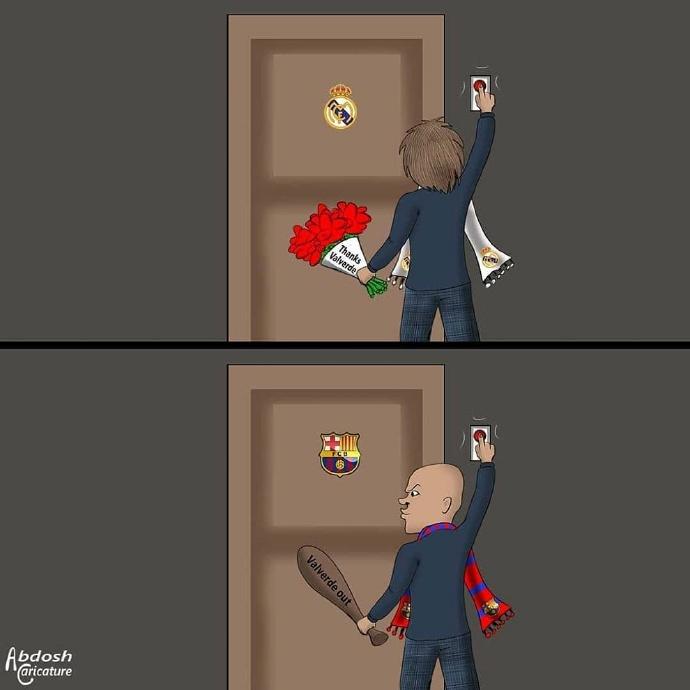 漫画调侃:西班牙双雄的巴尔韦德,同名不同命