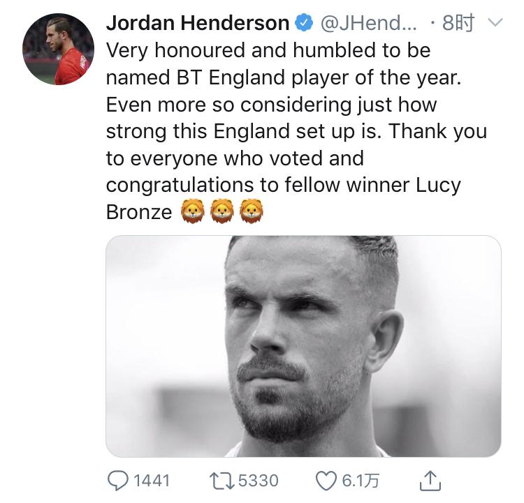荣膺2019年英格兰年度最佳男足运动员,亨德森发推致谢