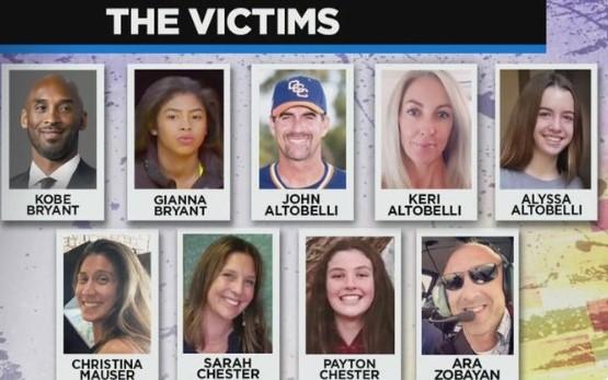 验尸官宣布:直升机事故中的全部9名遇难者均已确定身份